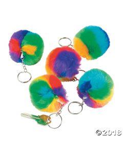 Plush Rainbow Pom-pom Keychains