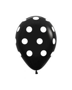 Polka White on Black Fashion Solid Balloons 30cm