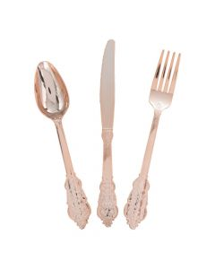 Premium Ornate Rose Gold Plastic Cutlery Sets - 24 Ct.
