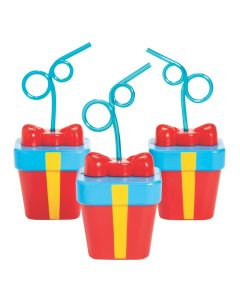 Present Cups with Lids and Straws