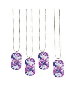 Purple Awareness Ribbon Camouflage Dog Tag Necklaces