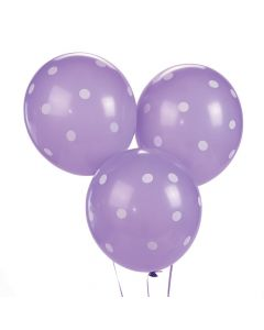 "Purple Polka Dot 11"" Latex Balloons"
