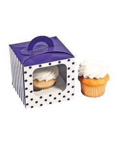 Purple Polka Dot Cupcake Boxes with Handle