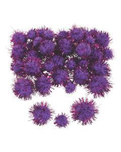 Purple Tinsel Pom-Poms