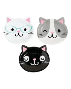 Purr-Fect Party Cat-Shaped Paper Dinner Plates
