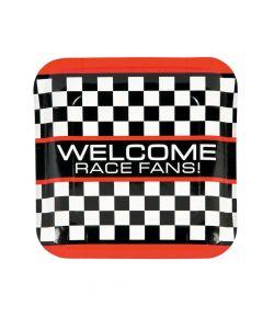 Race Car Checkered Flag Paper Dinner Plates