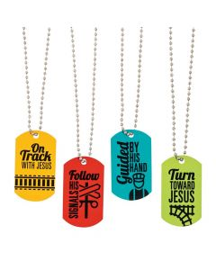 Railroad VBS Dog Tag Necklaces