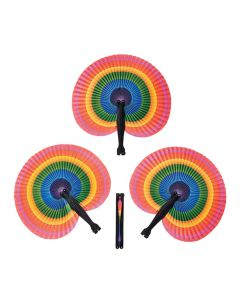Rainbow Folding Hand Fans