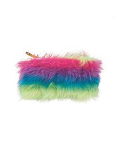 Rainbow Fur Plush Pencil Cases