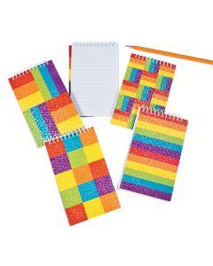 Rainbow Glitter Spiral Notepads