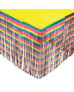 Rainbow Metallic Fringe Plastic Table Skirt