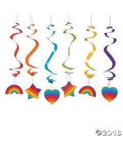 Rainbow Party Hanging Swirls