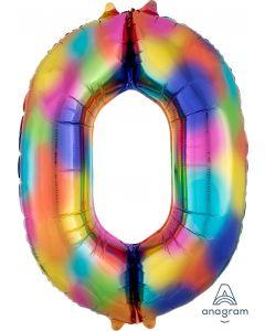 Rainbow Splash 0 Number Shape Balloon