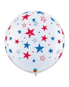 Red and Blue Stars on White 3 ft. Latex Balloons