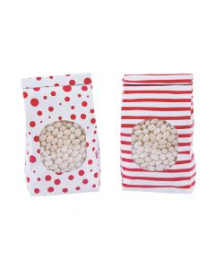Red Patterned Tin Tie Treat Bags with Window