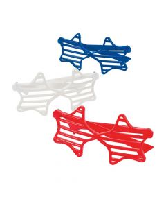 Red, White and Blue Star-Shaped Shutter Sunglasses