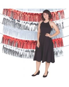 Red, White and Silver Fringe Garland Backdrop