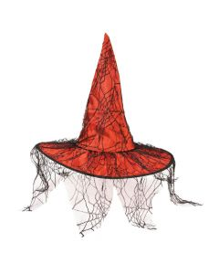 Red Witch Hat with Black Spider Netting