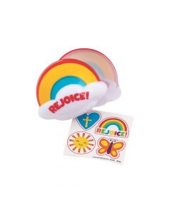 Religious Rainbow Sticker-Filled Plastic Easter Eggs - 12 Pc.
