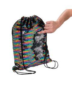 Reversible Sequins Rainbow Drawstring Bag