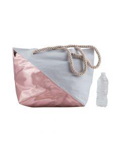 Rose Gold Diagonal Print Tote Bag with Rope Handles