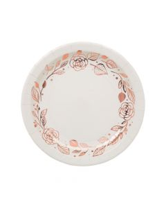 Rose Gold Foil Floral Paper Dinner Plates - 8 Ct.
