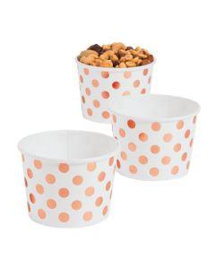 Rose Gold Foil Polka Dot Snack Paper Bowls