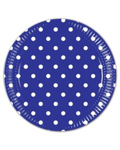 Royal Blue Dots Lunch Plate