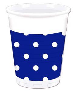 Royal Blue Dots Plastic Cup