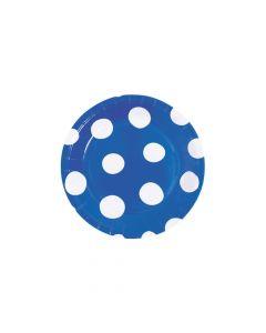 Royal Blue Polka Dot Round Paper Dessert Plates