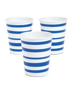 Royal Blue Striped Paper Cups