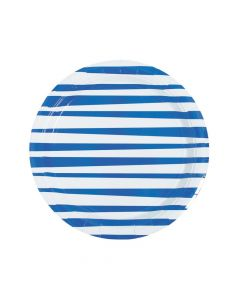 Royal Blue Striped Round Paper Dinner Plates