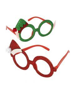Santa and Elf Christmas Glitter Glasses