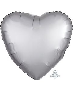 Satin Luxe Platinum Heart Foil Balloon