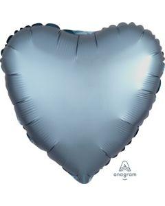 Satin Luxe Steel Blue Heart Foil Balloon