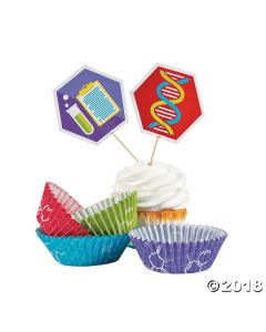 Science Party Cupcake Wrappers with Picks