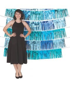 Shades of Blue Fringe Garland Backdrop