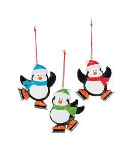 Skating Penguin Christmas Ornaments