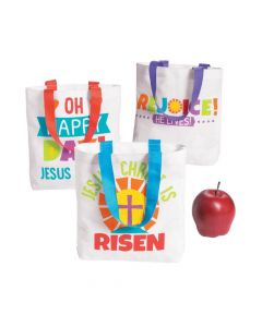Small He Lives Tote Bags