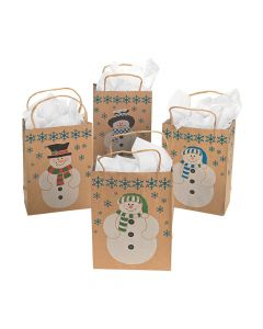Snowman Brown Paper Gift Bags