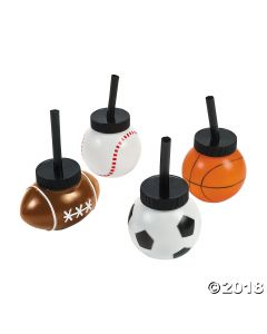Sport Ball Cups with Straws