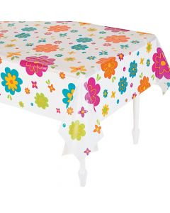 Spring Flower Plastic Tablecloth