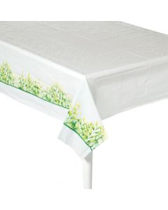 Spring Greenery Plastic Tablecloth