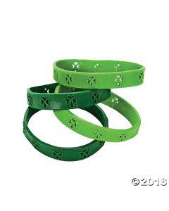 ST. Patricks Day Cutout Shamrock Rubber Bracelets
