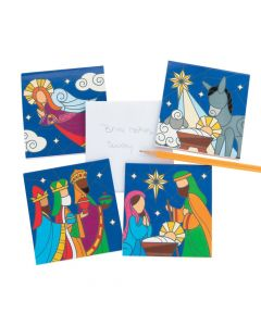 Stained Glass Nativity Notepads