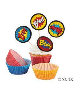 Superhero Cupcake Liners with Picks