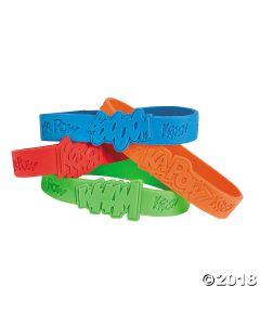 Superhero Sayings Rubber Bracelets