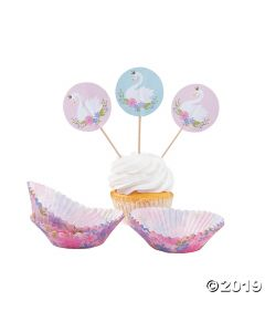 Sweet Swan Cupcake Wrappers with Picks