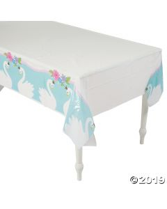 Sweet Swan Printed Plastic Tablecloth