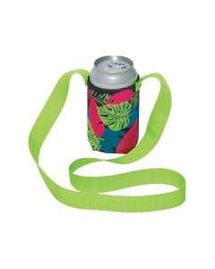 Tropical Can Sleeves with Lanyards